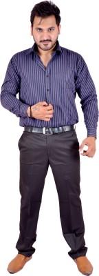Shahanshah Enterprises Men's Striped Casual Dark Blue Shirt