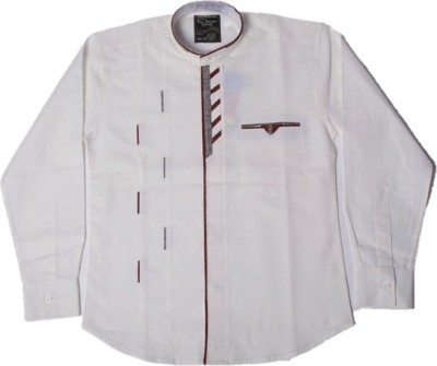 Way2Style Boy's Self Design Casual White Shirt
