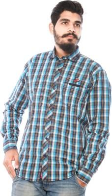 LWW Men's Checkered Casual Light Blue, Black Shirt