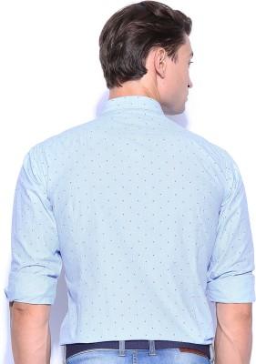 Mast & Harbour Men's Printed Formal Blue Shirt