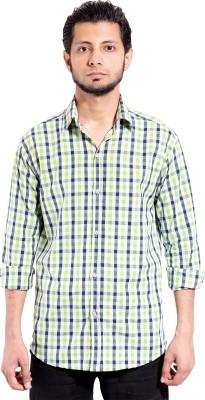Chaman Handicrafts Men's Checkered Casual Green Shirt