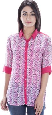 Peppermint Blues Women's Geometric Print Casual Pink Shirt