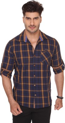 Ramarrow Men's Checkered Casual Dark Blue Shirt