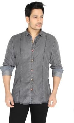 Jadeblue Men's Solid Casual Denim Grey Shirt