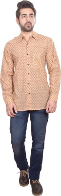 Shilpi Men's Printed Casual Yellow Shirt