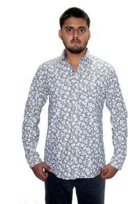 The GreeK Men's Floral Print Casual Grey Shirt