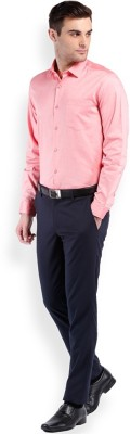 Royal Kurta Men's Solid Formal Pink Shirt