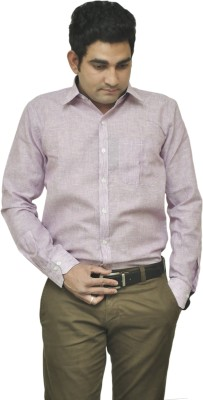 Benzoni Men's Solid Formal Linen Purple Shirt