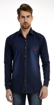 AVSPOLO Men's Solid Casual Dark Blue Shirt