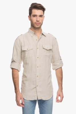 Cotton World Men's Solid Casual Linen White Shirt