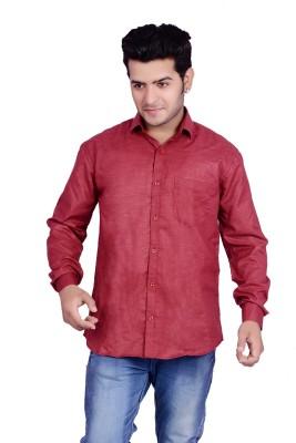 Buransh Men's Solid Formal Maroon Shirt