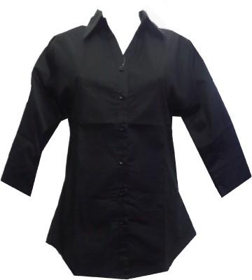 fashion point Women's Solid Formal Black Shirt