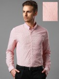 Invictus Men's Striped Formal Red Shirt