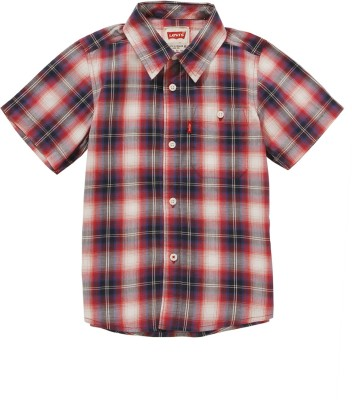 Levis Kids Boy's Checkered Casual Red, Black Shirt