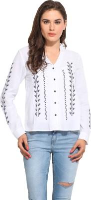Instacrush Women's Solid Casual White Shirt