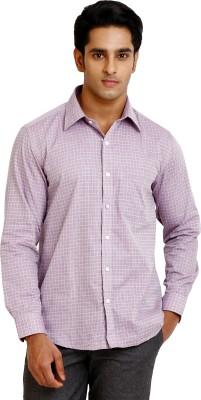 Zenrio Men's Checkered Formal Pink Shirt