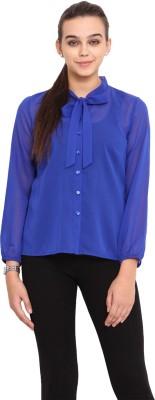 Pink Lemon Women's Solid Casual Blue Shirt