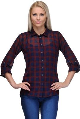 Curvy Q Women's Checkered Casual Blue Shirt