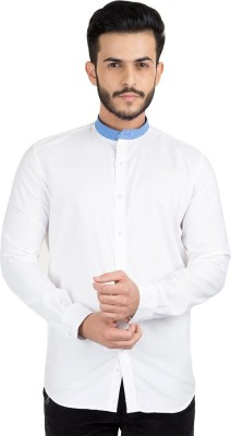 British Club Men's Solid Casual White, Blue Shirt