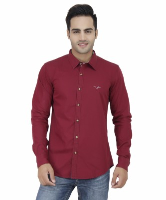 Velloche Men's Solid Casual Red Shirt