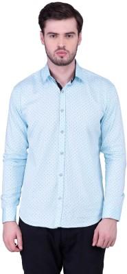 THE SHIRT FACTORY Men's Printed Casual White Shirt