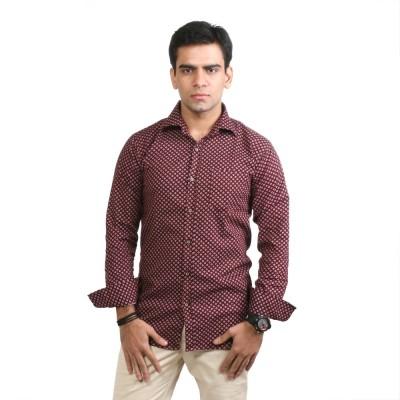Basil Men's Printed Casual Maroon Shirt