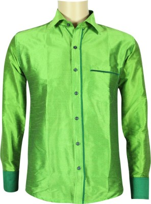KENRICH Men's Solid Formal Light Green Shirt