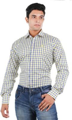Relish Men's Checkered Formal Yellow, Blue Shirt
