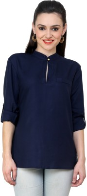 Indicot Women's Solid Casual, Party Dark Blue Shirt