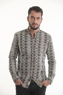 Kart & Kriss Men's Geometric Print Casual Brown Shirt