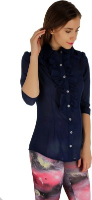 Holidae Women's Solid Casual Blue Shirt