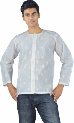 Govind Chikan Men,s Embroidered Casual White Shirt