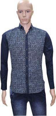 Menz Fashion Men's Printed Casual, Party Dark Blue Shirt