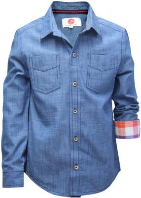 The Cranberry Club Boy's Solid Casual Dark Blue Shirt
