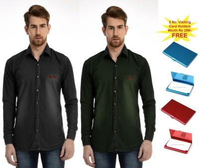 AVSPOLO Men's Solid Casual Black, Green Shirt