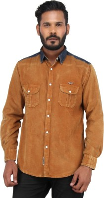 Piazza Italya Men's Solid Casual Orange, Blue Shirt