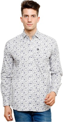 Ebry Men's Printed Casual White, Blue Shirt