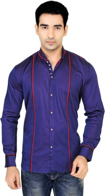 X-Secret Men's Self Design Casual Blue Shirt