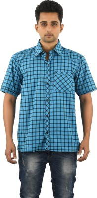 Five On Five Men's Striped Casual Blue Shirt