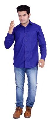 Buransh Men's Solid Formal Dark Blue Shirt