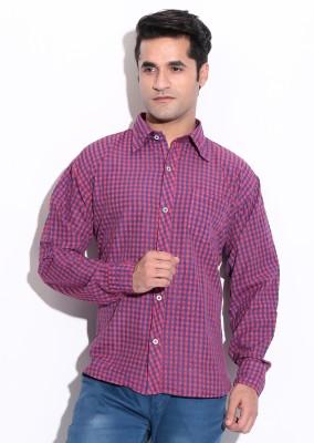 ZION Men's Checkered Formal Pink Shirt