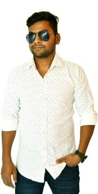 Heart Bit Men's Printed Casual White Shirt