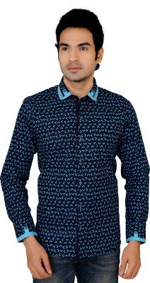 X-Secret Men's Printed Party Blue Shirt
