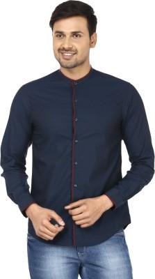 Wills Lifestyle Men's Solid Casual Dark Blue Shirt