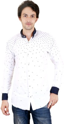 Zrestha Men's Printed Casual White Shirt