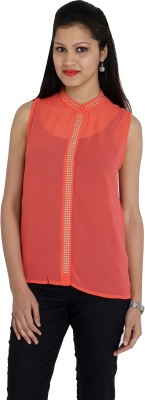 Franclo Women's Solid Formal, Casual Pink Shirt