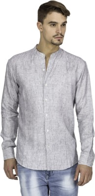 Mayank Modi Men's Striped Casual Linen White Shirt