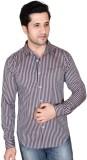 Denimize Men's Striped Casual Brown Shir...