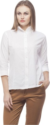 Peptrends Women's Solid Formal White Shirt
