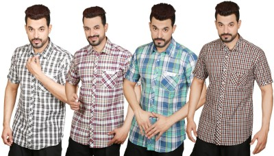 Factory Direct Men's Checkered, Solid Casual Multicolor Shirt